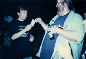 Lucius Shepard bestowing gift to Bob Kruger at last Clarion West '97 party.